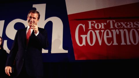 Bush celebrates after he was elected governor of Texas in 1994. Bush, a Republican like his father, ran for Congress in 1978 but lost.