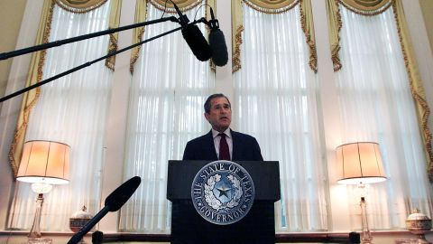 Bush practices his national convention speech while working at the governor's mansion in Texas in July 2000.