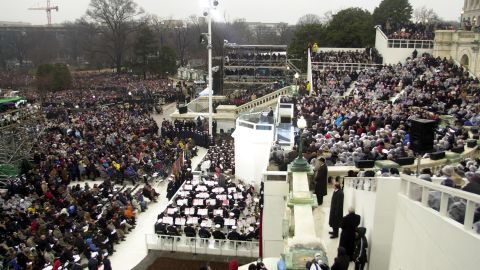 Bush delivers his inaugural address.