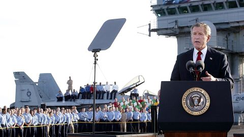"""Bush, speaking from the USS Abraham Lincoln in May 2003, announced that """"major combat operations"""" had ended in Iraq. A banner on the aircraft carrier said """"mission accomplished,"""" drawing criticism because the war in Iraq was still far from over. Bush never said the words """"mission accomplished"""" in his speech -- he actually said """"our mission continues"""" -- but the President later expressed regret about speaking in front of the banner."""