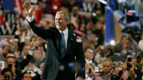 Bush waves after addressing delegates at the Republican National Convention in 2004.