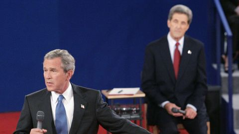 Bush addresses the audience as he debates Democratic challenger John Kerry in October 2004.