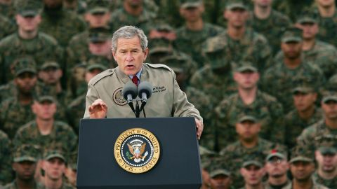 Bush speaks to US Marines on the anniversary of the Pearl Harbor attack in December 2004.