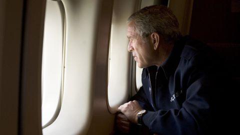 Bush surveys Hurricane Katrina damage as Air Force One flies over New Orleans in August 2005.