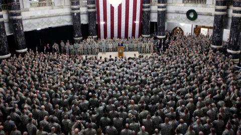Bush speaks to US troops in Baghdad, Iraq, in December 2008.