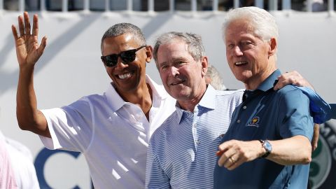 Former Presidents Obama, Bush and Clinton attend the Presidents Cup golf event in Jersey City, New Jersey, in 2017.