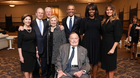 Bush and his wife, Laura, join other former Presidents and first ladies for a photo at Barbara Bush's funeral.