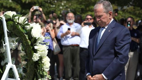 Bush participates in a wreath-laying ceremony at the 9/11 Pentagon Memorial in 2019.