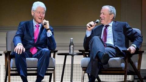 Bush and former President Clinton speak at an event in New York in February 2020.