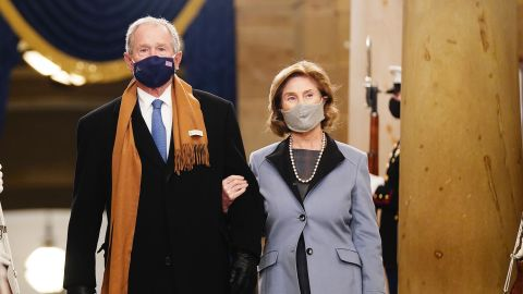 Bush and his wife, Laura, arrive for the inauguration of Joe Biden in January 2021.