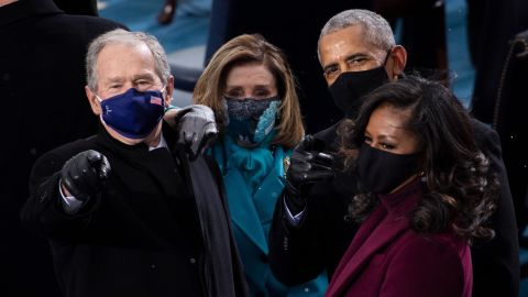 Bush is joined by the Obamas and House Speaker Nancy Pelosi at Biden's inauguration.