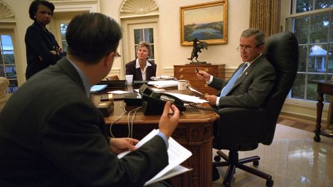 Bush works on another address to the nation with National Security Adviser Condoleezza Rice, speechwriter Mike Gerson and presidential counselor Karen Hughes on September 20, 2001.