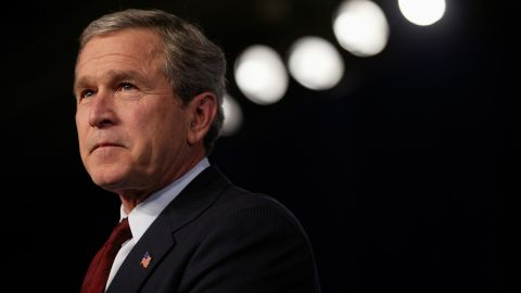 United States President George W. Bush announces his plan for jobs and economic growth at the Economic Club of Chicago. His plan features $674 billion in tax cuts and benefits. (Photo by Brooks Kraft LLC/Corbis via Getty Images)