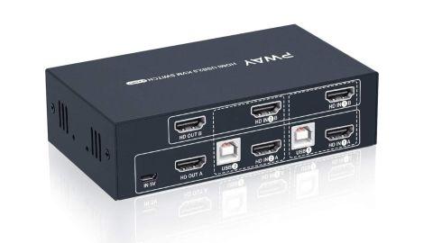Steetek 2 Port Dual Monitor KVM Switch