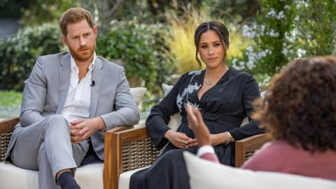 """Britain's Prince Harry and his wife Meghan, the Duchess of Sussex, are pictured during an <a href=""""https://www.cnn.com/2021/03/07/uk/oprah-harry-meghan-interview-intl-hnk/index.html"""" target=""""_blank"""">interview with Oprah Winfrey,</a> which aired in the United States in March 2021. It was their first sit-down appearance since leaving Britain last year."""