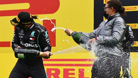 SPIELBERG, AUSTRIA - JULY 12: Lewis Hamilton of Great Britain and Mercedes GP celebrates on the podium after winning the Formula One Grand Prix of Styria at Red Bull Ring on July 12, 2020 in Spielberg, Austria. (Photo by Joe Klamar/Pool via Getty Images)