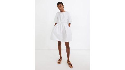 Madewell Poplin Crewneck Bubble-Sleeve Mini Dress