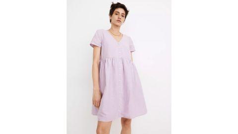 Madewell Linen-Blend Alexandra Button-Front Mini Dress