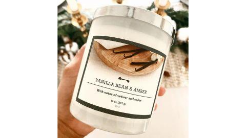 Threshold Lidded Milky Glass Jar Vanilla Bean and Amber Candle
