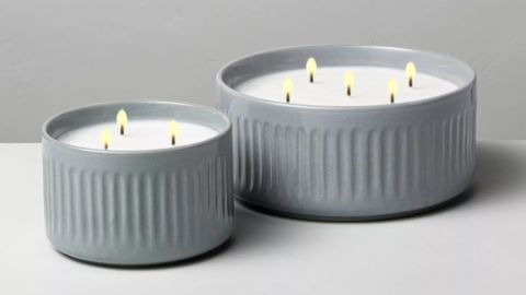 Hearth & Hand with Magnolia Blue Sagewood Fluted Ceramic Candle