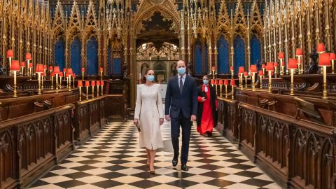 Will and Kate are pictured during a visit to Westminster Abbey, where a Covid-19 vaccination center has been set up, on March 23, in London.