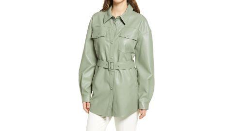 Sanctuary Faux Leather Belted Shirt Jacket