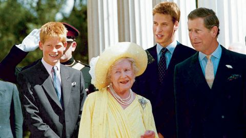 Britain's Queen Mother joins Prince Charles and his sons during an occasion marking her 99th birthday at her London residence in 1999.