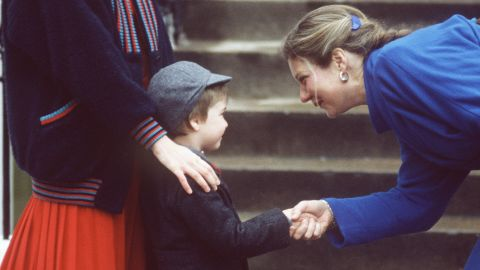 Prince William attends his first day at Wetherby School on January 15, 1987.