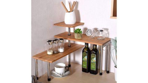 Ollieroo 3-Tier Corner Bamboo Shelf