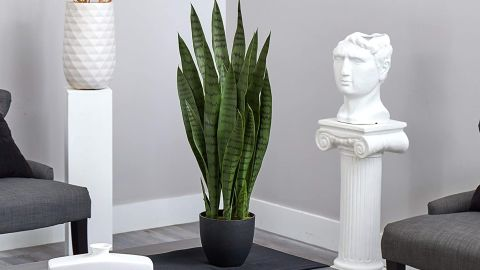 Nearly Natural Faux Sansevieria With Black Planter
