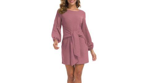 Lionstill Long-Sleeve Tie-Waist Sweater Dress