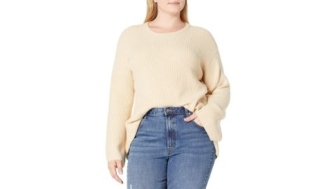 The Drop Alice Crewneck Back Slit Ribbed Pullover Sweater