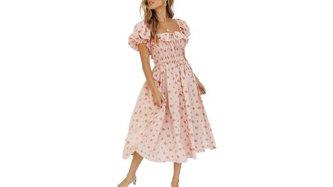 R.Vivimos Summer Floral Print Puff Sleeve Midi Dress