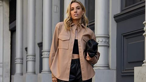 The Drop Faux Leather Long Shirt Jacket