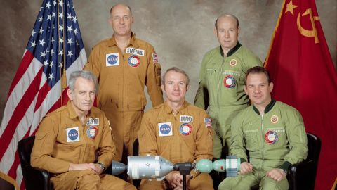 On July 15, 1975, Cold War adversaries temporarily broke the thaw when the United States and the Soviet Union embarked on their first joint space mission. Russia's Soyuz craft launched seven hours before the US Apollo craft, and the two vehicles linked up 52 hours after Soyuz lifted off. Here, the two crews pose for a portrait.