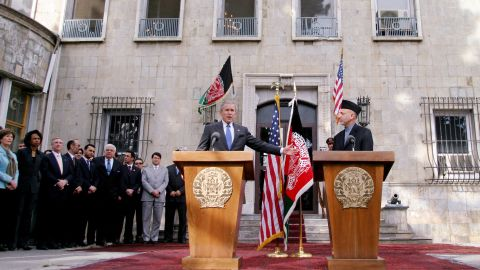 US President George W. Bush attends a news conference with Afghan President Hamid Karzai at the Presidential Palace in Kabul in March 2006. It was Bush's first visit to Afghanistan.