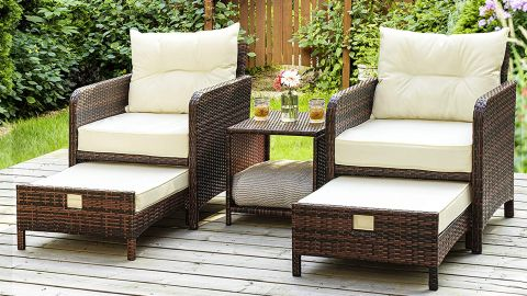 Pamapic 5-Piece Wicker Patio Chair Set With Ottomans