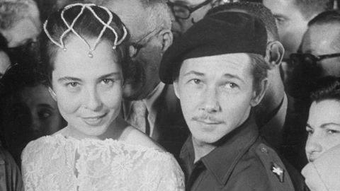 Castro poses for a photo with his wife Vilma at their wedding in 1959.