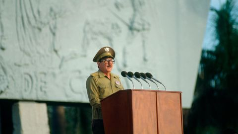 Castro speaks at a rally in November 1983 honoring soldiers killed during the US invasion of Grenada.