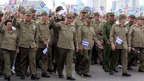 Castro takes part in a march against terrorism in front of the United States Interests Section in Havana in May 2005.