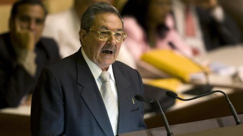Cuba?s new president Raul Castro gives a speech after being elected to succeed his brother Fidel Castro by the Cuban national assembly, on February 24, 2008. Raul Castro succeeded his brother Fidel Castro as the president of Cuba Sunday in a historic power shift expected to keep Havana firmly on its communist path, officials said. The announcement was made to the national assembly by newly reelected speaker Ricardo Alarcon.AFP PHOTO/Adalberto ROQUE (Photo credit should read ADALBERTO ROQUE/AFP/Getty Images)