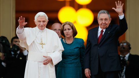 Pope Benedict XVI and Castro wave to the media after a meeting in Havana in 2012.