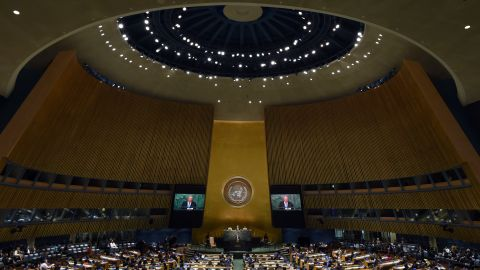 Castro addresses the 70th Session of the UN General Assembly in 2015.