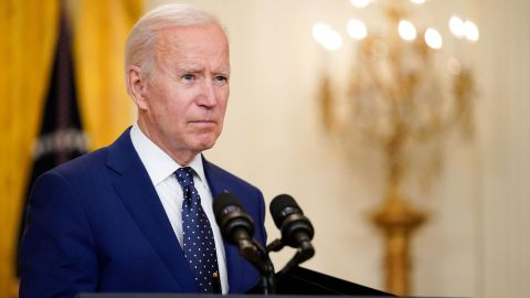 President Joe Biden speaks about Russia in the East Room of the White House in Washington on April 15.