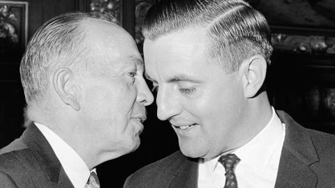 Mondale smiles while speaking to Minnesota Gov. Karl Rolvaag on November 17, 1964. Rolvaag appointed Mondale to the US Senate after Hubert H. Humphrey was elected vice president.