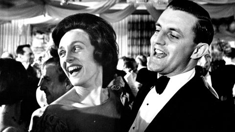 Mondale and his wife attend the inaugural ball for newly sworn-in President Lyndon B. Johnson in Washington, DC, on January 20, 1965.