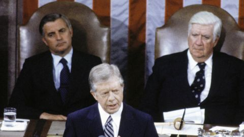 Mondale listens with Speaker of the House Thomas O'Neill as President Carter delivers his speech on the Salt II Treaty to a Joint Session of Congress on June 18, 1979.