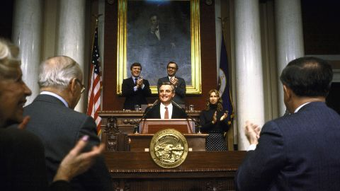 Mondale gives a speech at the Minnesota House Chamber after announcing his candidacy for president in St. Paul on February 1, 1983.