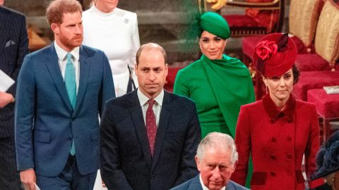 Prince Harry, Duke of Sussex, top left, and Meghan, Duchess of Sussex, second from right, follow Prince William and Catherine as they depart Westminster Abbey with Prince Charles, bottom center, after attending the annual Commonwealth Service in London on March 9, 2020.