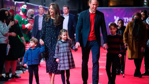 Will and Kate arrive with their three children to attend a pantomime performance of the National Lotterys Pantoland, at the London Palladium Theatre, on December 11, 2020, to thank key workers and their families for their efforts throughout the pandemic.